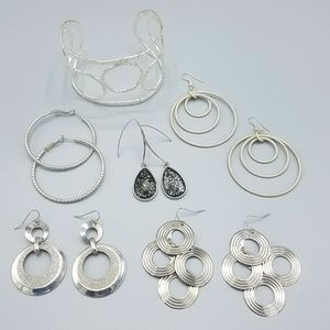 Silver Tone Earring / Upper Arm Bracelet Bundle